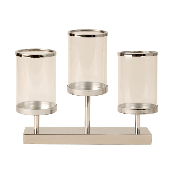 Modern lantern holder Candlestick lantern set with 3 glass wind lights metal silver Height 28 cm Wid