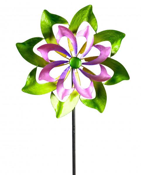 Windrad Windspiel Blume als Gartenstecker aus Metall grün, lila und gelb mit einer Länge von 150 cm