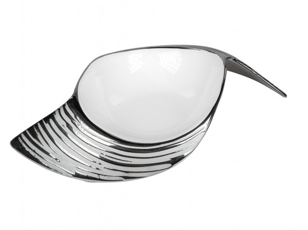 Modern decorative bowl fruit bowl ceramic bowl white / silver 23x16 cm