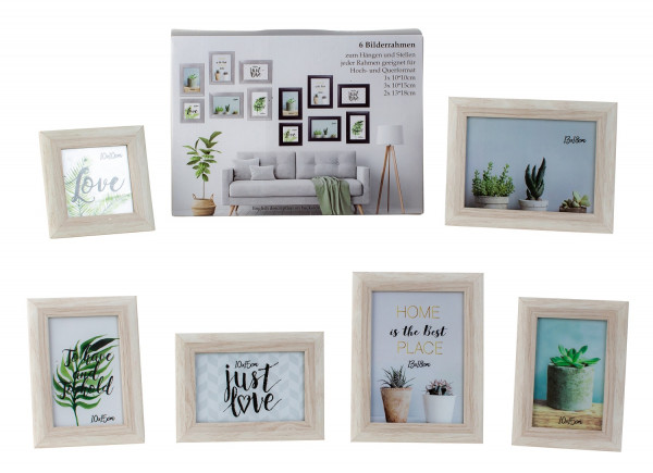 Modern picture frame photo frame set 6 pieces for standing and hanging including gift box white