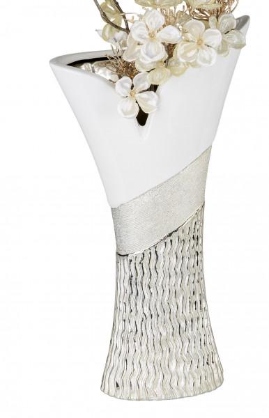 Moderne Deko Vase Blumenvase Tischvase aus Keramik weiß/gold Höhe 30 cm