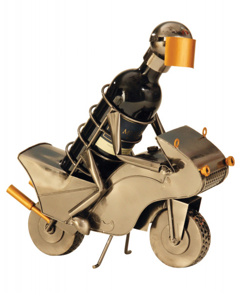 Fancy wine bottle holder motorcyclists metal height 25.5 cm