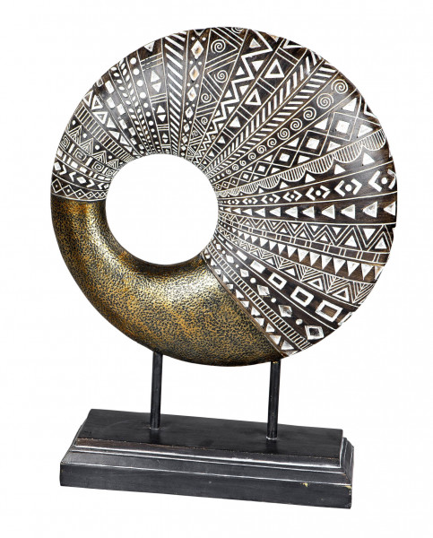 Modern sculpture decorative figure made of artificial stone on base white / gold height 37 cm width 27.5 cm