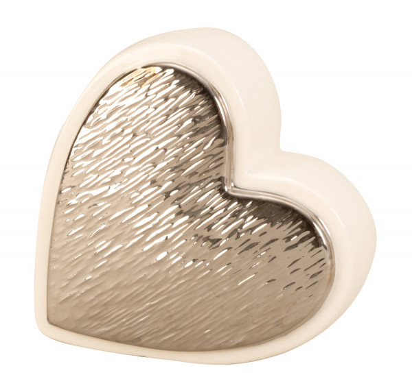 Modern sculpture Heart love from ceramics in white / silver Height 13 Width 13 cm