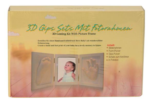 Babyset inklusive Rahmen 43,5x19 cm mit Gips-Set für 3D Abdruck Baby-Abdruck, Gips Set mit Fotorahme