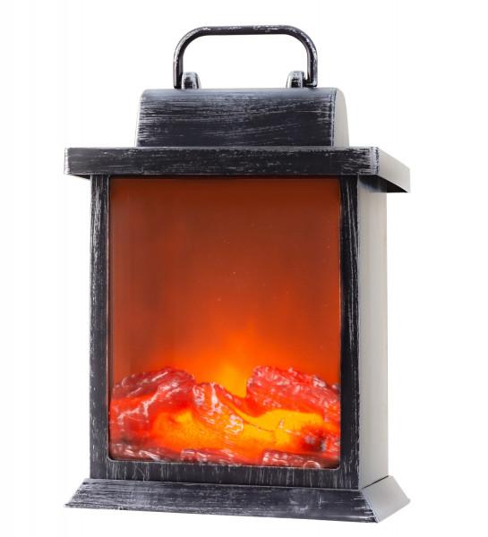 LED Tischkamin Kamin LED Laterne mit realistischer Flammensimulation schwarz/silber 15x22 cm