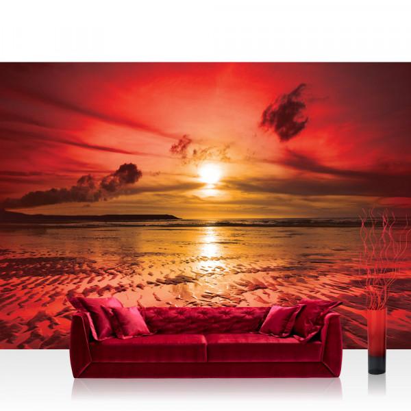 Vlies Fototapete Sonnenuntergang Tapete Meer Ebbe Wellen Strand Himmel Wolken Sonnenuntergang rot