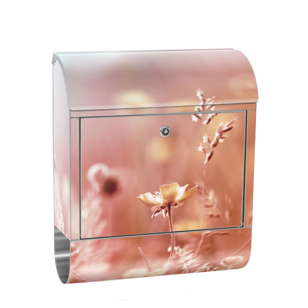 Stainless Steel Letterbox with Newspaper roll & Motif Flower flowers nature | No. 0198
