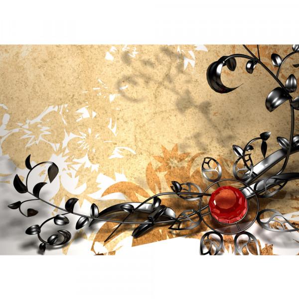 Vlies Fototapete Metall Flower - Ornaments Ornamente Tapete Orchidee Blumen Blumenranke Metal