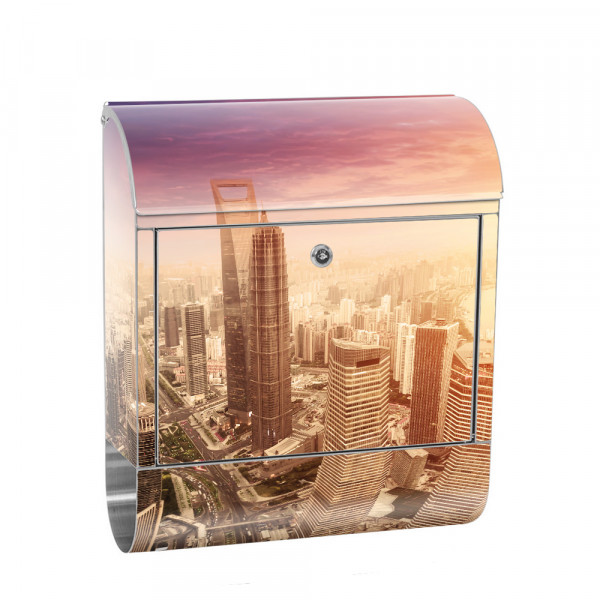 Stainless Steel Letterbox With Newspaper roll & Motif Skyline Shanghai | No. 0050