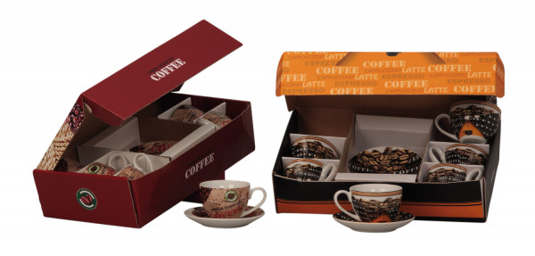 Kaffetassen Service 12 - teilig inklusive Geschenkbox 38x10 cm