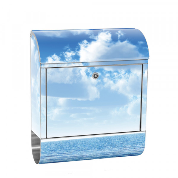 Stainless Steel Letterbox with Newspaper roll & Motif ocean sea Wave | No. 0152