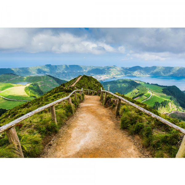 Vlies Fototapete Landschaft Tapete Berge Aussicht Alpen Urlaub wandern grün