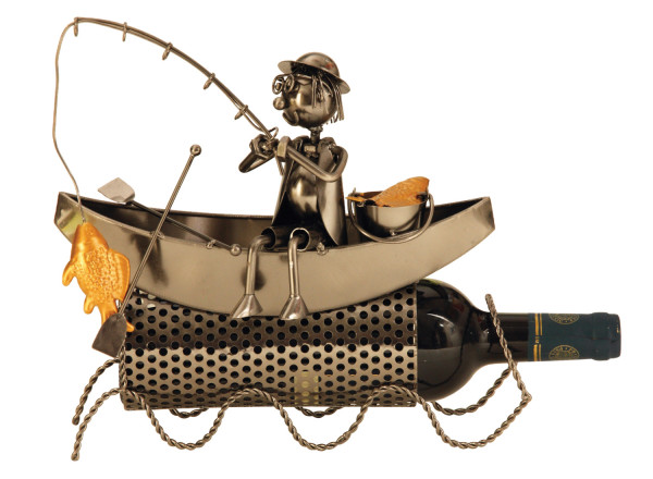 Fancy Wine Bottle Holder Fisherman in boat of metal height 27 cm