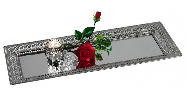 Decorative Mirror Tray Tray Romance Serving Tray of Metal and Glass Silver 24x60 cm