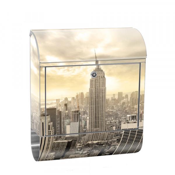 Edelstahlbriefkasten mit Zeitungsrolle & Motiv Empire State Building | no. 0037
