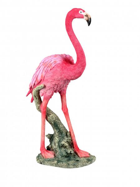 Moderne Gartenskulptur Gartenfigur Skulptur Flamingo aus Kunststein rosa stehend Höhe 53 cm
