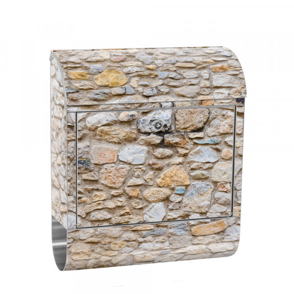 Stainless Steel Letterbox with Newspaper roll & Motif stone Stone Optic Wall | No. 0149