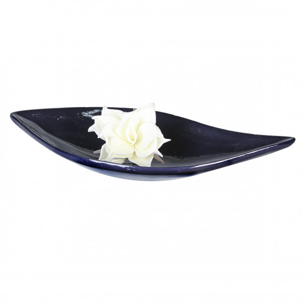 Moderne Dekoschale Obstschale Schale aus Keramik dunkelblau glasiert Länge 49 cm