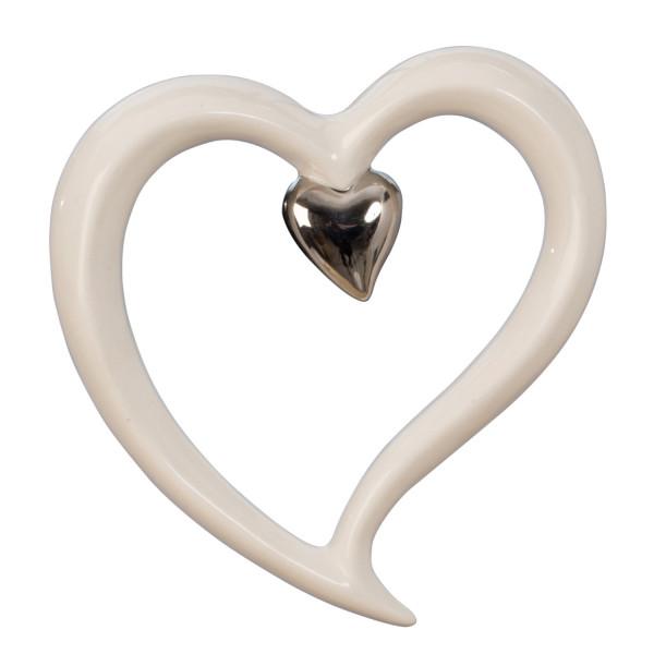 Modern Wall Deco sculpture heart shape Ceramic silver / white Height 15.5 cm Width 14.5 cm