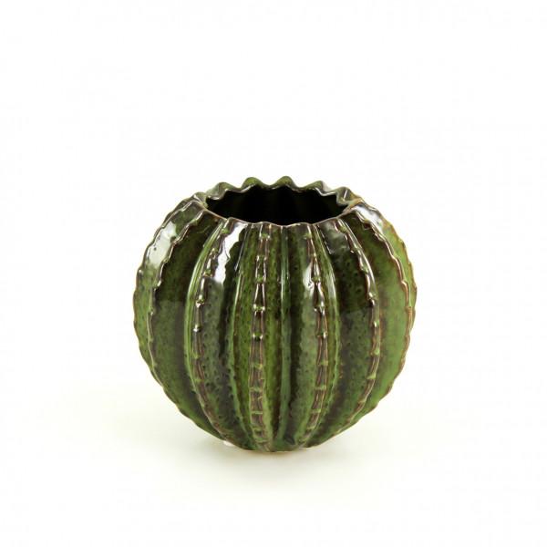 Moderne Deko Vase Blumenvase Tischvase Kaktus aus Keramik grün 14x14x13 cm