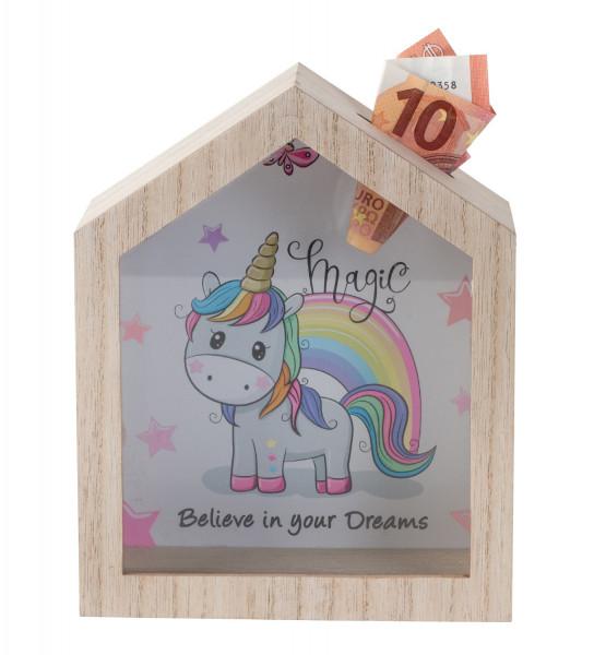 Beautiful Moneybox Moneybox Unicorn made of wood/glass 16x20 cm