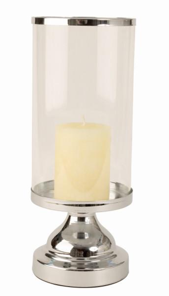 Modernes Windlicht Kerzenständer aus Edelstahl und Glas in silber Höhe 32 cm