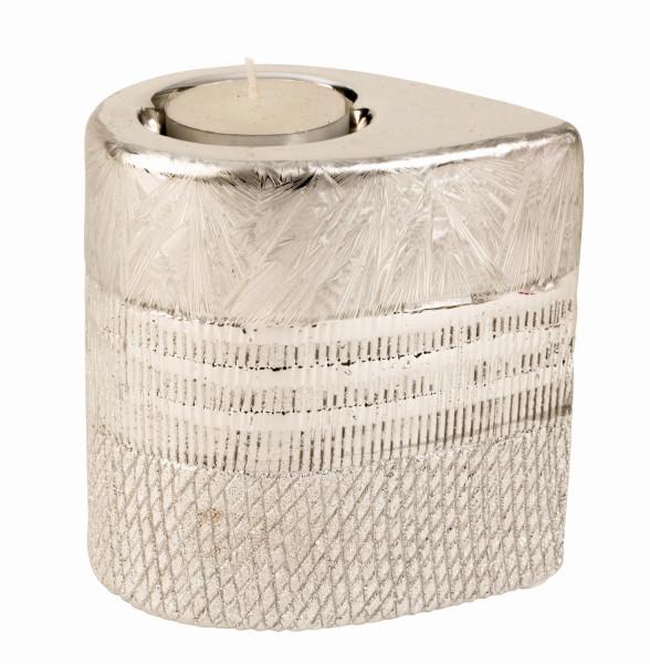 Modern tealight holder candle light ceramic silver Height 10 cm Width 7 cm