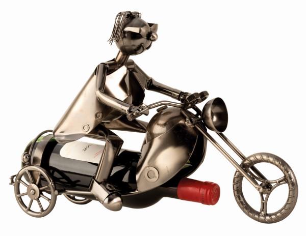 Moderner Wein Flaschenhalter Flaschenständer Motorradfahrer aus Metall in silber Höhe 27 cm Länge 40