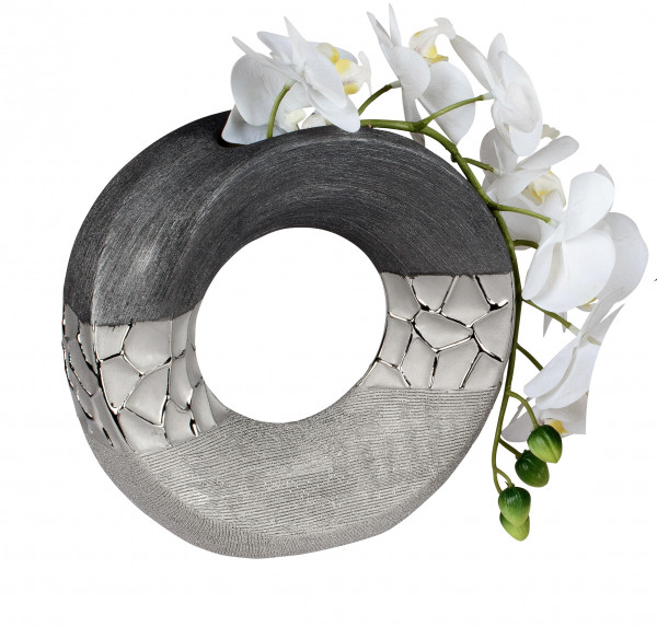 Modern decorative vase flower vase Table vase ceramic vase silver glossy and matte 18x18 cm