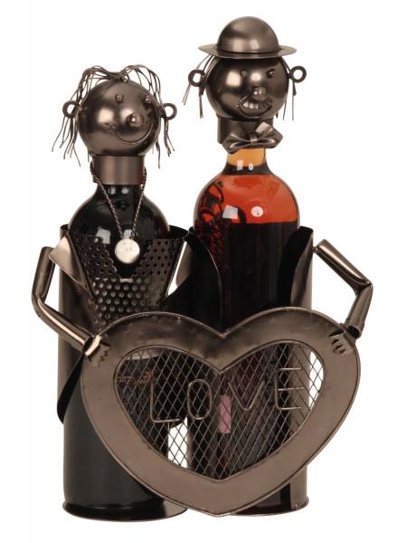 Moderner Wein Flaschenhalter Liebespaar aus Metall in silber Höhe 32 cm cm Breite 24 cm