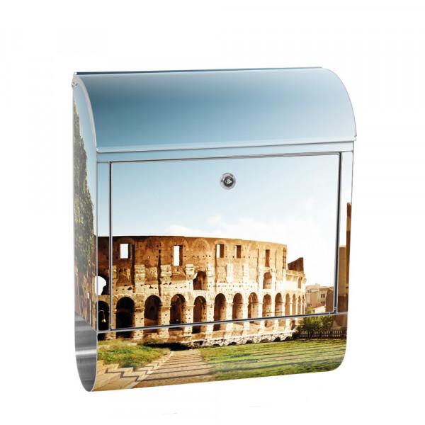 Edelstahlbriefkasten mit Zeitungsrolle & Motiv Italien Rom Kolosseum | no. 0052