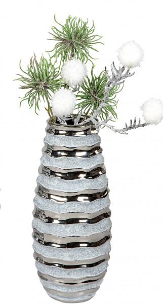 Moderne Dekovase Blumenvase Tischvase Vase aus Keramik Stone Silber 13x30 cm