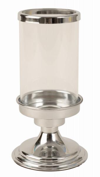 Modernes Windlicht Kerzenständer aus Edelstahl und Glas in silber Höhe 19 cm