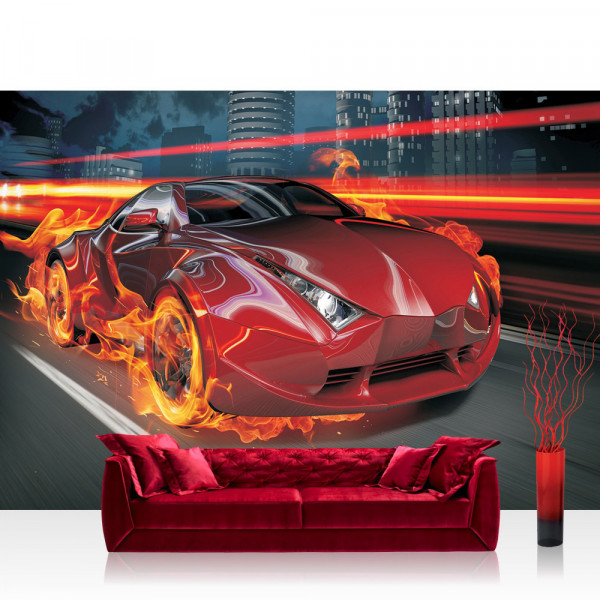 Vlies Fototapete Autos Tapete Auto Feuer Reifen Lightning Jungen Männer Illustration rot rot