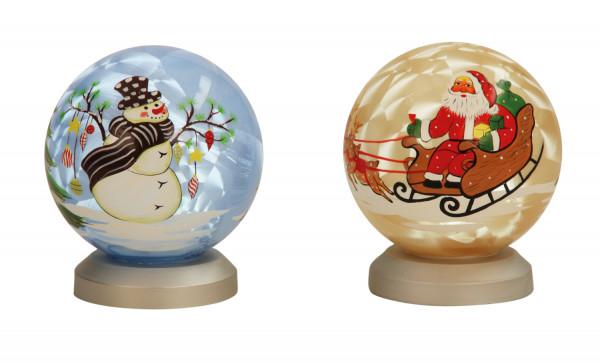 Moderne Glaskugel Weihnachten mit LED Licht blau oder gold Höhe 11 cm