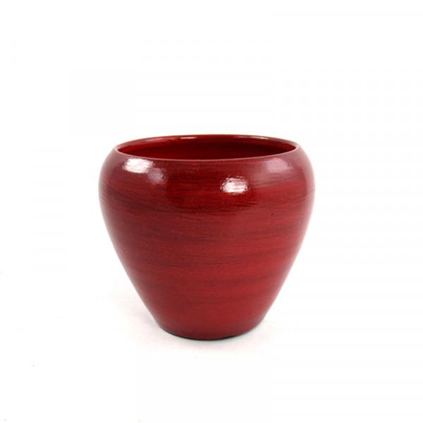 Moderner Übertopf Pflanzengefäß Vase für Blumen aus Keramik in der Farbe rot 17x17x15 cm