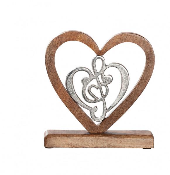 Moderne Skulptur Dekofigur Herz und Notenschlüssel aus Mangoholz und Aluminium Silber/braun 21x20 cm