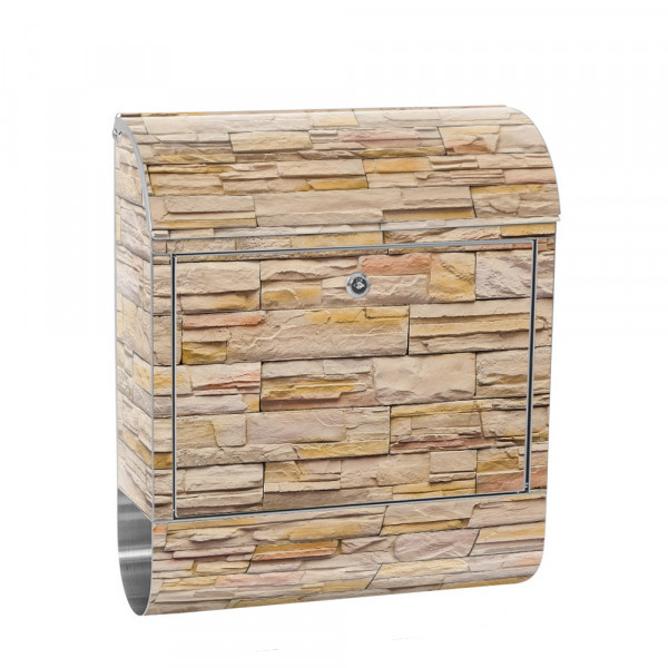 Stainless Steel Letterbox with Newspaper roll & Motif stone Stone Optic Wall | No. 0169