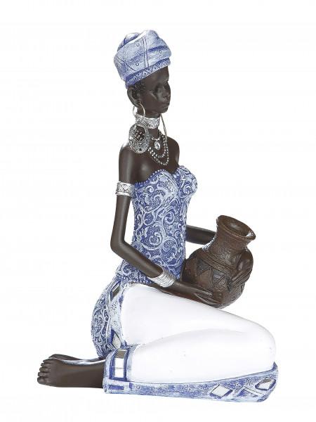 Moderne Skulptur Dekofigur Frau Afrikanerin blau/weiß/braun Höhe 19 cm Breite 14 cm