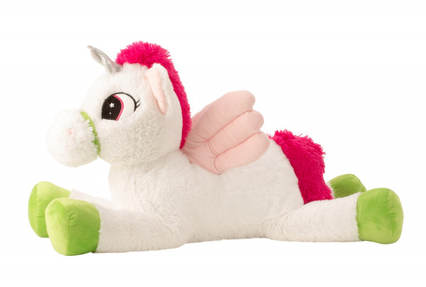 Large unicorn with wings cuddly toy plush toy white / pink XL 85 cm tall and velvety soft