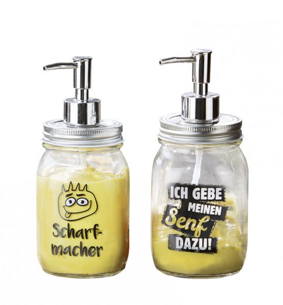 2 Stück Soßenspender Senf aus Glas mit Pumpe silber und 2 lustigen Sprüchen 7,5x11x19,5 cm (LxBxH)
