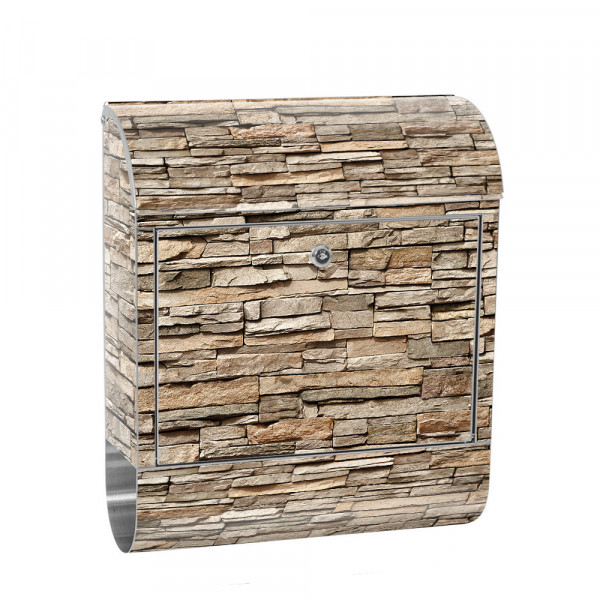 Stainless Steel Letterbox with Newspaper roll & Motif stone wall Stone Optics | No. 0140
