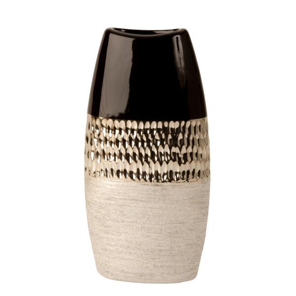 Modern deco vase flower vase ceramic vase anthracite / silver height 30 cm