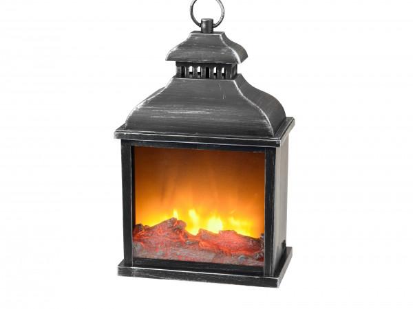 LED table fireplace fireplace LED lantern with timer black plastic 25x15x38 cm