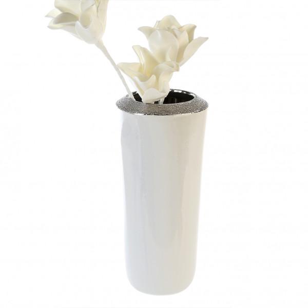 Moderne Deko Vase Blumenvase aus Keramik weiß mit silberner Oberflächenstruktur Höhe 35 cm D 16 cm