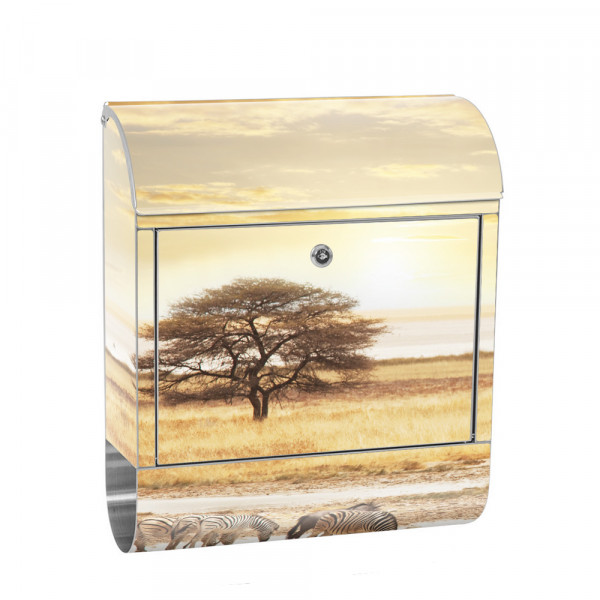 Stainless Steel Letterbox with Newspaper roll & Motif Sunrise nature | No. 0236