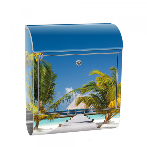 Stainless Steel Letterbox with Newspaper roll & Motif Baltic Sea edge Palm Trees | No. 0165