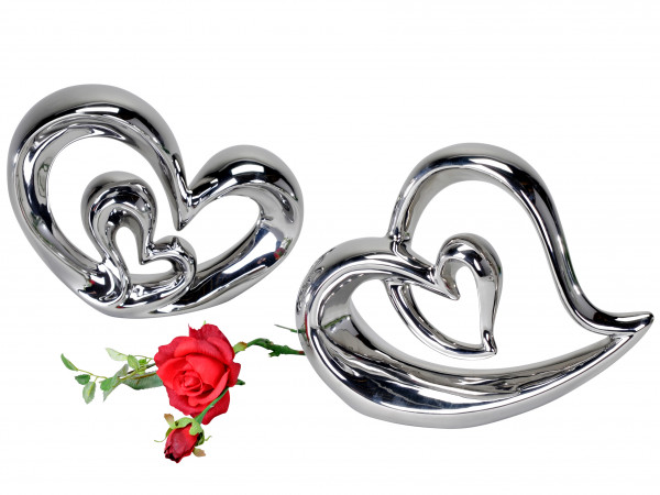 Modern decorative heart made ??of ceramic silver height 26 cm
