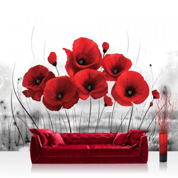 Vlies Fototapete Blumen Tapete Mohn Pflanze Blüte rot